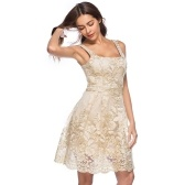 Femmes Sexy Dress Floral Broderie Spaghetti Strap été Casual Vintage Party A-ligne robe Clubwear Beige