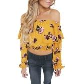 Moda Feminina Floral Imprimir Blusa Colheita Top Off Ombro Ruffles Lanterna de Manga Comprida Blusa Solta Amarelo
