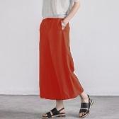 Mulheres Verão Algodão Macio Largo Perna Calças Cintura Elástica Cor Sólida Casual Calças Soltas