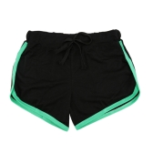 Pantaloncini sportivi da donna in vita elastica in contrasto con allacciatura laterale a contrasto