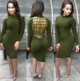 Sexy Women Midi Dress Backless Ruched Stand Collar Long Sleeve Bodycon Party Club Bandage Dress