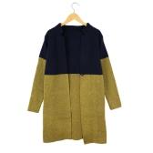 Mulheres da moda de malha Cardigan Patchwork carrinho colarinho manga longa pelagem longa Outerwear azul/cinza/rosa