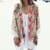Vintage Women Loose Chiffon Kimono Cardigan Floral Print Lace Hem Long Sleeve Beach Casual Boho Outerwear Top Khaki