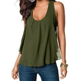 Nuova estate donna Camisole Chiffon gilet Sexy Scoop Neck senza maniche Racer indietro Casual Tank Top White/Green