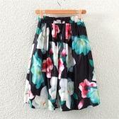 Retro donne gonna vita alta elastico pieghe abito stampa floreale cerniera posteriore Midi Skirt Black