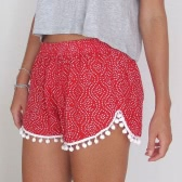 Europa moda mujeres playa pantalones cortos Hairball impresión elástico en la cintura Pantalones Sexy Casual negro
