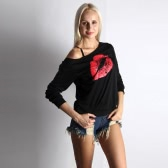 New Fashion Women T-shirt Big Lips Print Long Sleeves Pullover Casual Loose Shirt Top White/Red
