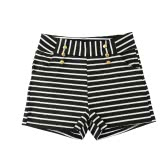 Women Shorts Summer Striped Shorts High Elastic Waist Ladies Casual Pants Black