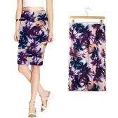 Falda midi nueva moda mujer Falda elástica estampada floral Elegante falda vaina estilo casual vintage Bodycon