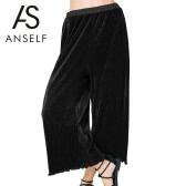 Neue Mode Frauen lose Bundfaltenhose weites Bein elastischer Bund gekräuselten Saum Casual ausgestellte Hose schwarz