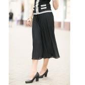 New Moda feminina perna larga Calças plissado Chiffon Elastic cintura solta Capris alargamento calças cortadas Culottes Preto