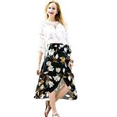 Moda Kobiety Szyfonowa spódnica Vintage Floral Print Przycisk Asymetryczna Hem Zamknięcie pasa Podszewka Midi Spódnica Czarny