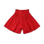 Novas mulheres plissadas dividido saias perna larga calça elástico cintura alta Pantskirt a linha Casual Culottes vermelho/preto/caqui