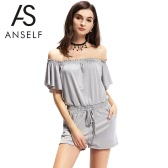New Fashion Women Off the Shoulder Jumpsuit Elastic Waistband Front Pockets Romper Playsuit Grey