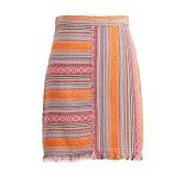 Manera de las mujeres mini falda a rayas Jacquard vendimia de la borla trasera de la cremallera de cintura alta bodycon étnico una línea de Falda roja / naranja