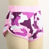 New Fashion Women Camo Sport Shorts Contrast Binding Split Side Elastic Waist Yoga Fitness Running Gym Shorts Pink/Black