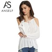 New Fashion Women Blouse Sexy Off Shoulder Self-Tie V Neck Long Lantern Sleeve Solid Color Casual T-Shirt Tee Blouse White