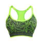 New Women Sports Bra Impressão geométrica Wireless Racerback Padded Full Cup Push Up Yoga Fitness Tank Top