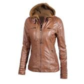 Damski Faux Leather Jacket Bluza z kapturem Kurtka z kapturem Płaszcz Krótki Slim Motocykl