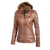 Faux Leather Jacket com capuz das mulheres jaqueta com zíper Hoodie Curto Magro Motorcycle Brasão