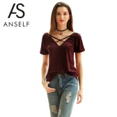 New Women T-shirt Cotton Sólidos Crossed Bandage V-Neck manga curta Pullover Casual Blusa Top Burgundy