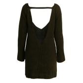 Neue reizvolle Frauen gestrickten Pullover Backless mit tiefem V-Ausschnitt Langarm-lose Warme Pullover Tops Strick Rot / Khaki / Armee-Grün