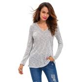 Neue Art und Weise Frauen Strickoberteil mit Kapuze V-Ausschnitt Langarm-beiläufige lose T-Shirt Pullover