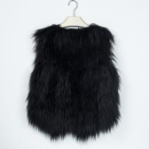 Fashion Women Fluffy Faux Fur Vest Sleeveless Coat Solid Furry Winter Warm Short Gilet Outerwear Jacket