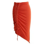 New Sexy Women Bodycon Lace-Up Skirt Side Split Asymmetric Hem Elastic Waist Solid Short Skirt Red/Grey