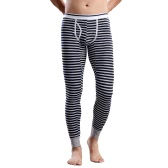Mode-Mann-Winter Leggings Gestreifte Long Johns Wäsche Strumpfhosen-elastische Taille Cotton Nachtwäsche Thermal Pants