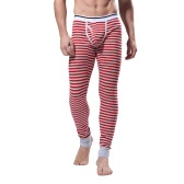 Fashion Men Winter Leggings Striped Long Johns Underwear Tights Elastic Waist Cotton Sleepwear Thermal Pants