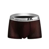 ZK Mens Honeycomb Mesh bolsa en forma de U Boxers Casual respirable antibacterial ropa interior de tallas grandes