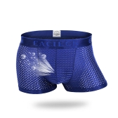 Mens Mesh Breathable Underwear Nylon Casual Thin Solid Color Sexy Boxers Cool Summer