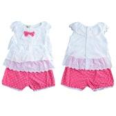 Novas meninas crianças blusa Top colete Bermuda em cascata plissado Dot bordado mangas elástico bonito Casual jogo das crianças duas peças