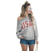 Women Long Sleeve T-Shirt USA Letter Print O-Neck Shirt Sweatshirt Top Casual Tee Top Grey