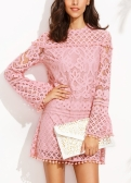 New Elegant Women Sheer Lace Dress Pom Pom Trims O Neck Long Sleeve Lined Party Mini Dress Pink