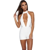 Sexy Women Playsuit Plunge V Front Chocker High Neck Sleeveless Mesh Open Back Bodycon Night Clubwear