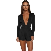 Sexy Women Jumpsuit Solid Color Plunge V Neck Long Sleeve Casual Slim Short Playsuit Rompers