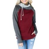 Mode Femmes Sweat à capuche Sweatshirts Contraste Couleur Manches longues Drawstring Décontracté Chaude Pull à capuche Tops Bourgogne / Vert / Rose