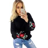 Otoño Invierno Mujer Suéter De Punto Floral Bordado Pullover Jumper Flare Manga Larga Casual Tops Sueltos