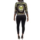 New Fashion Women Down Jacket Print O-Neck Zipper Long Sleeve Coat Outerwear Black/Yellow