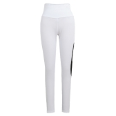 New Women Sport Yoga Leggings Mesh Splice Solid Stretch Fitness Gym Running Bodycon Pants White