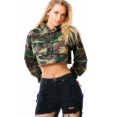 Fashion Women Crop Hoodie Camouflage Print Long Sleeve Loose Sweatshirts Short Pullover Hooded Tops Army Green