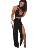 Sexy Women 2 Piece Outfits Turtleneck Sleeveless Hollow out High Split Clubwear Romper Jumpsuit Black