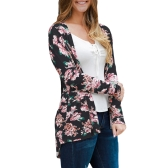 Moda Damska koszulka trykotowa Floral Print z długim rękawem Wszystkie pasujące przypadkowe cienkie cienie Thin Outwear Kimono czarne / szare / białe