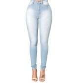 New Sexy Women Skinny Denim Jeans Classic High Waist Washed Slim Pants Tights Pencil Calças Azul escuro / Azul / Azul claro