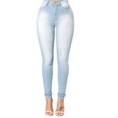 Nuevas mujeres atractivas Skinny Denim Jeans Classic cintura alta lavada Slim Pants Medias lápiz pantalones azul oscuro / azul / azul claro