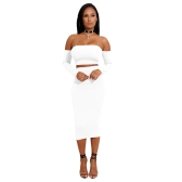 Sexy Women Two Pieces Set Off koronkowy koronka z powrotem z powrotem Long Sleeve Backless Crop Top bodycon zestaw spódnica ołówkiem