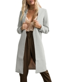 Autumn Winter Mulheres Long Cardigan Coat Aberta Frente Manga Longa Solid Slim Warm Outerwear Overcoat