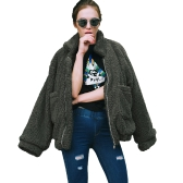Mulheres de moda Fluffy Shaggy Faux Fur Coat Manga comprida Loose Coat Turn-Down Sling Zipper Casual Jacket Outwear Tops